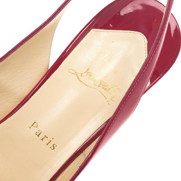 Christian Louboutin Pink Patent N°Prive Slingback Platform Sandals Size 40.5