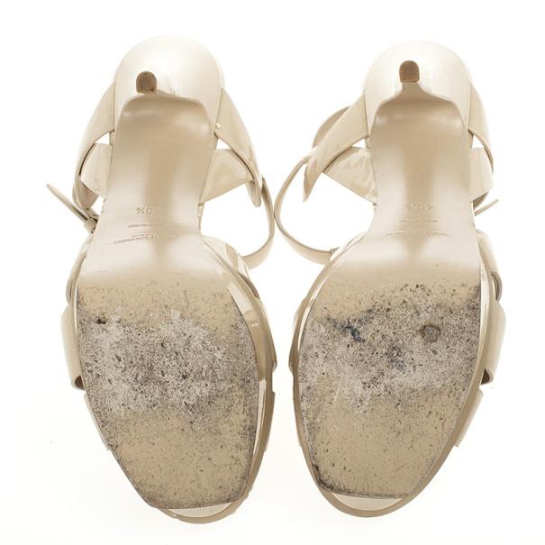 Yves Saint Laurent Nude Patent Tribute Platform Sandals Size 40.5