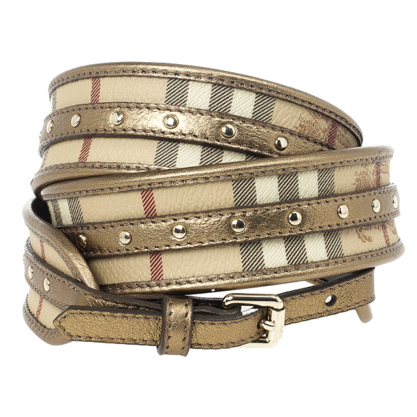 Burberry Haymarket Check Metallic Belt 100 CM