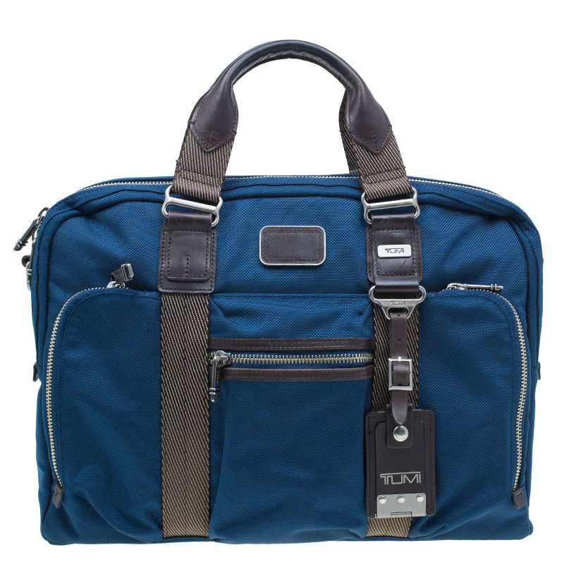 Tumi Blue Nylon Alpha Bravo McNair Slim Briefcase Bag