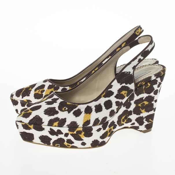 Stella McCartney Leopard Print Canvas Slingback Nathalie Wedges Size 38