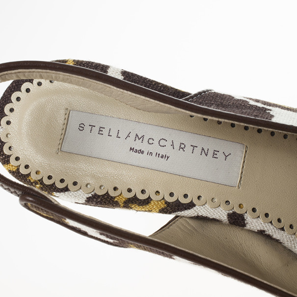 Stella McCartney Leopard Print Canvas Slingback Nathalie Wedges Size 38