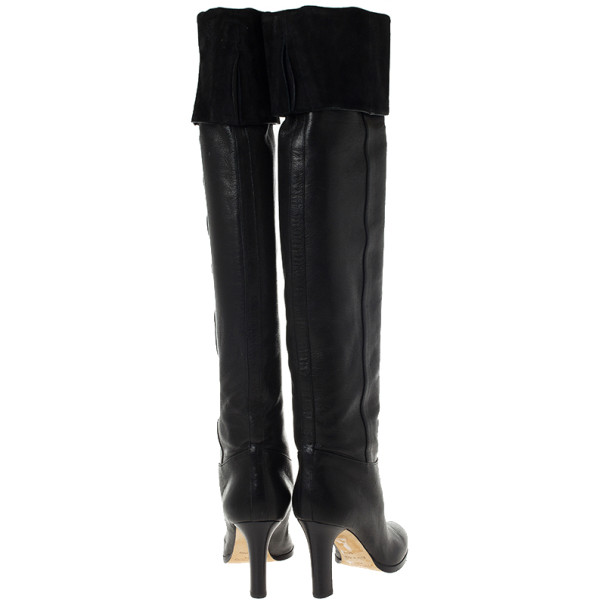 Jimmy Choo Gallant Black Fitted Calf Leather Over the Knee Boots Size 36