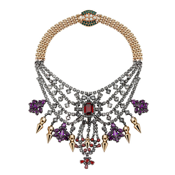 Mawi Tiered Crystal Necklace With Spikes