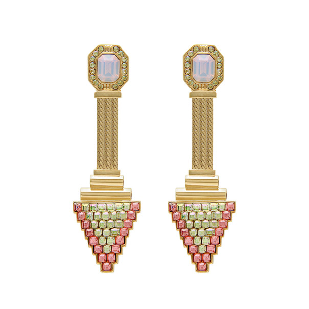 Mawi Rose Gold Deco Triangle Drop Earrings