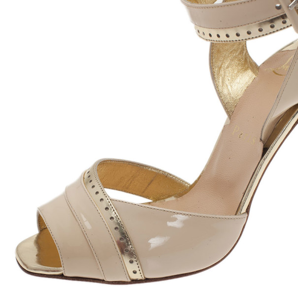 Christian Louboutin Cream Patent Escatin Ankle Strap Sandals Size 37.5