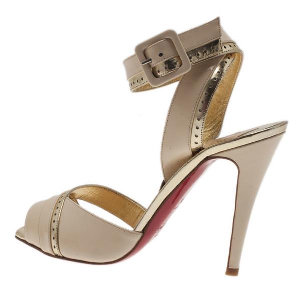 Christian Louboutin Cream Patent Escatin Ankle Strap Sandals Size 37.5