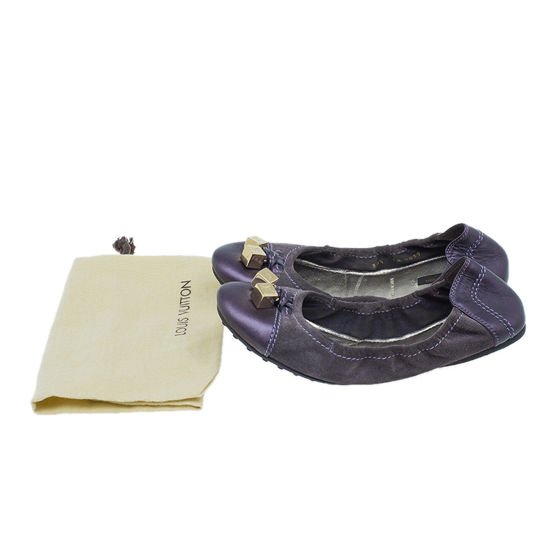 Louis Vuitton Purple Suede and Leather Lovely Ballet Flats Size 38.5