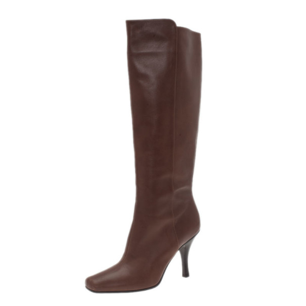 Jimmy Choo Brown Leather Kirby Knee Boots Size 36.5