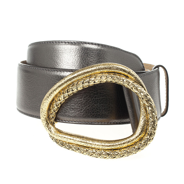 Roberto Cavalli Grey Leather Belt  80 CM