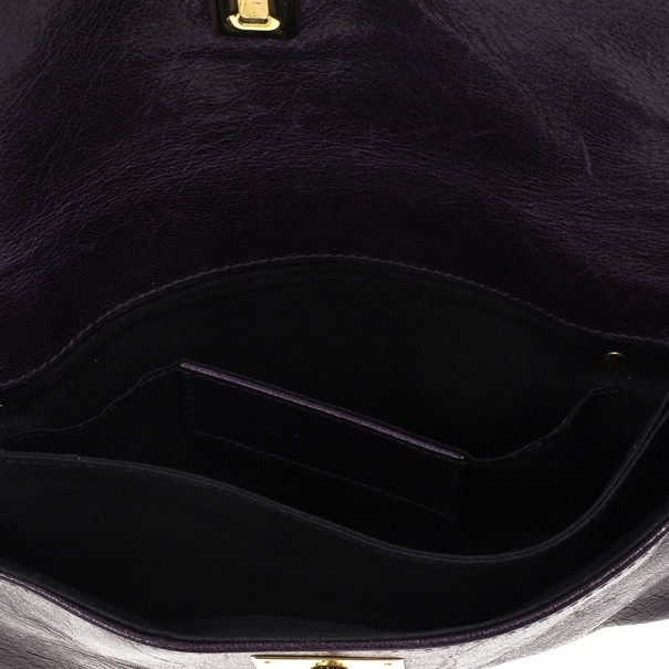 Balenciaga Black Leather Lune Clutch
