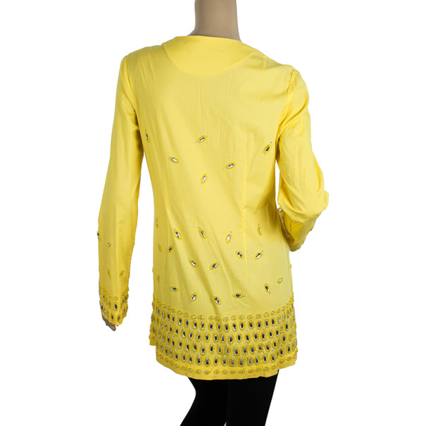 Tory Burch Yellow Embellished Tunic Top M