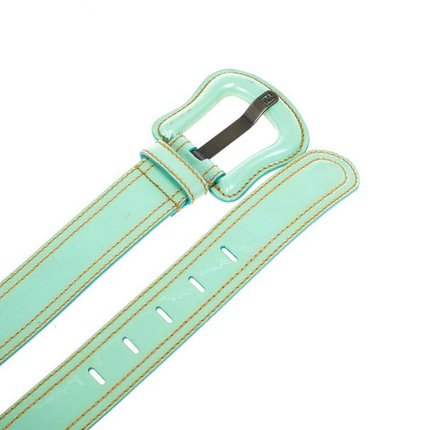 Fendi Turquoise Patent Leather B Buckle Belt 95 CM