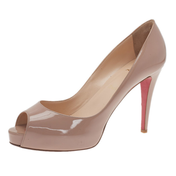 Christian Louboutin Nude Patent Very Prive Peep Toe Pumps Size 41.5