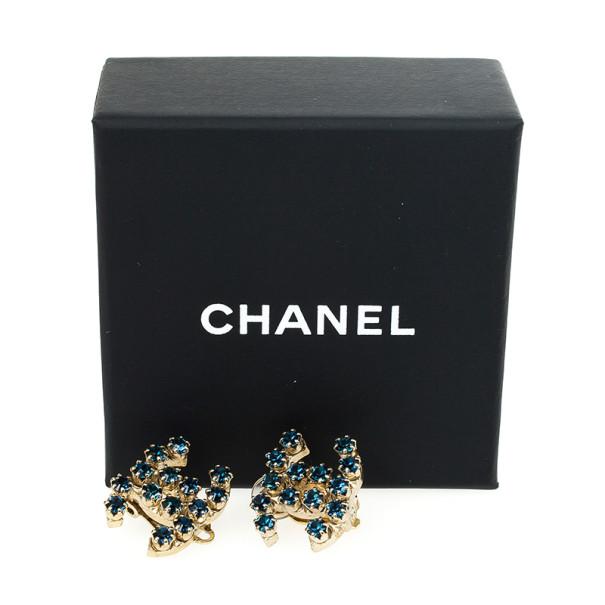 Chanel CC Blue Crystal Earrings