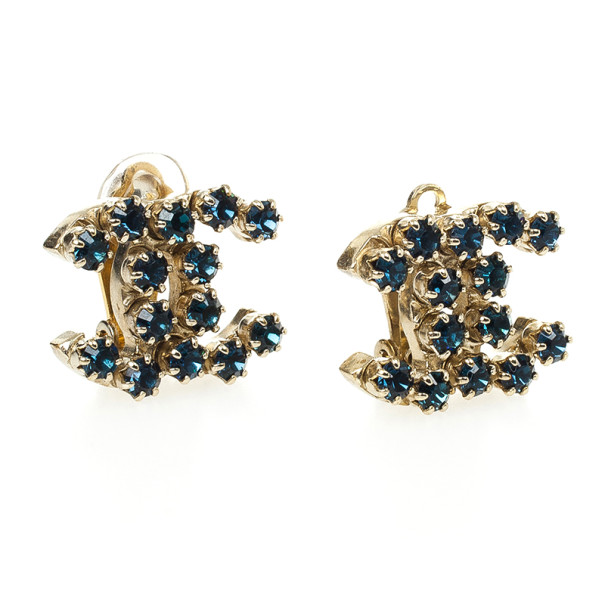 Chanel CC Blue Crystal Earrings