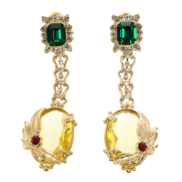 Mawi Dangling Green Gemstone Gold Plated Earrings