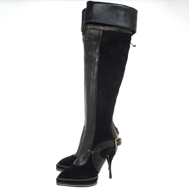 Christian Dior Black Suede & Leather Lace Up Intrigante Over The Knee Boots Size 38.5