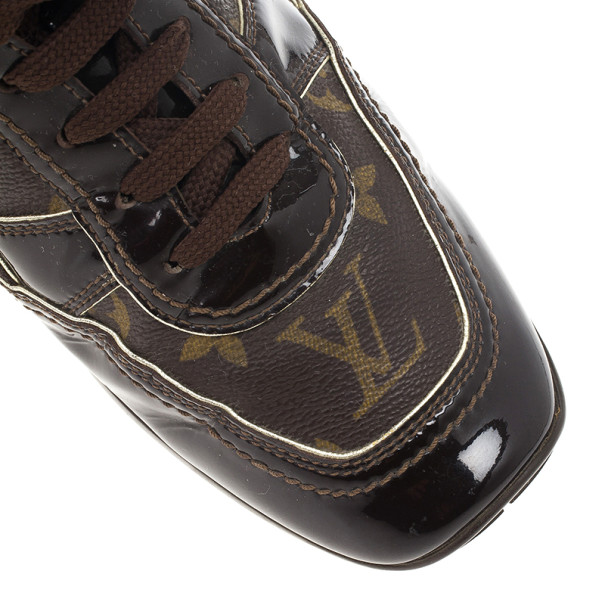 Louis Vuitton Brown Monogram Square Toe Sneakers Size 39.5