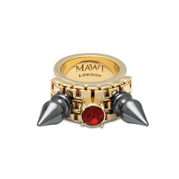Mawi Double Spike Solitaire Ring Size 54.5