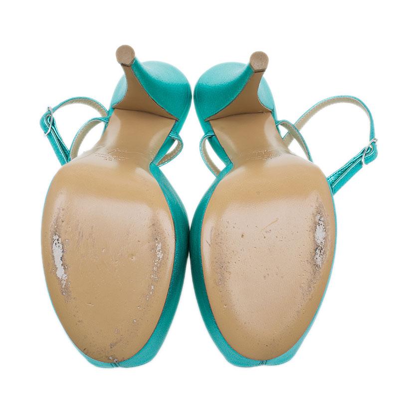 Giuseppe Zanotti Metallic Turquoise Leather T Strap Platform Sandals Size 39