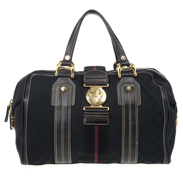 Gucci Black Monogram Aviatrix Large Boston Bag