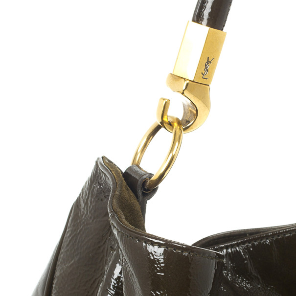 Yves Saint Laurent Forest Green Patent Leather Roady Hobo