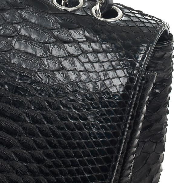 Chanel Classic Black Python Jumbo Flap Bag