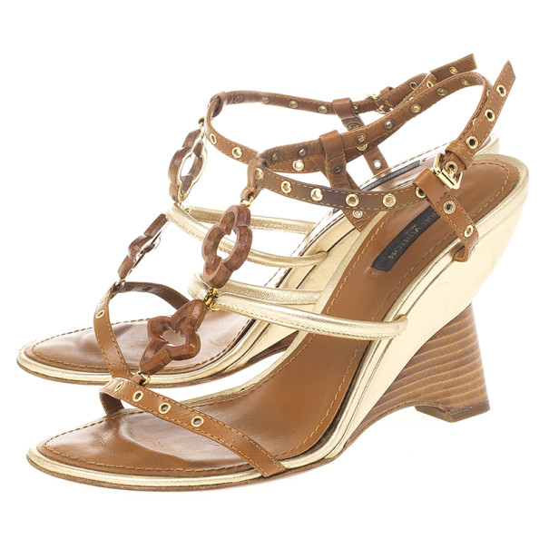 Louis Vuitton Brown Andalucia Wedge Sandals Size 37.5