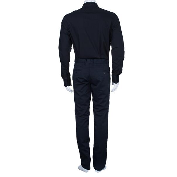 Jean Paul Gaultier Mens Laser Cut Collar Black Shirt M