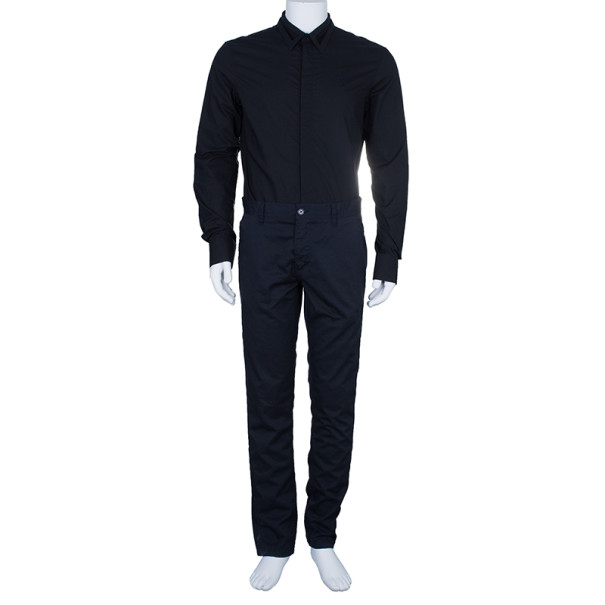 Jean Paul Gaultier Mens Laser Cut Collar Black Shirt M