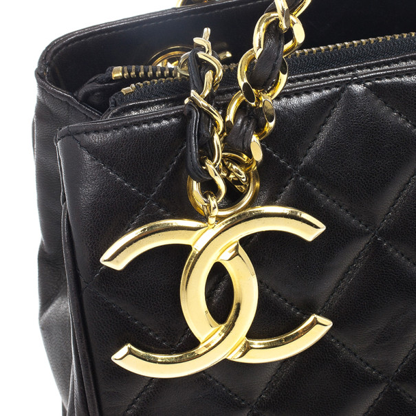 Chanel Black Vintage Quilted Lambskin Shoulder Bag