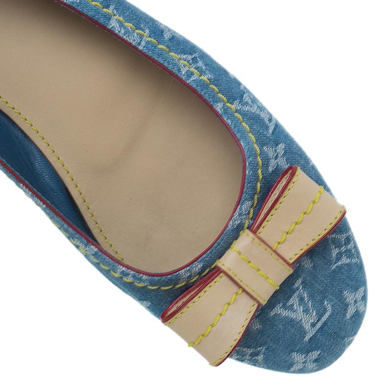 Louis Vuitton Monogram Denim Bow Ballet Flats Size 38