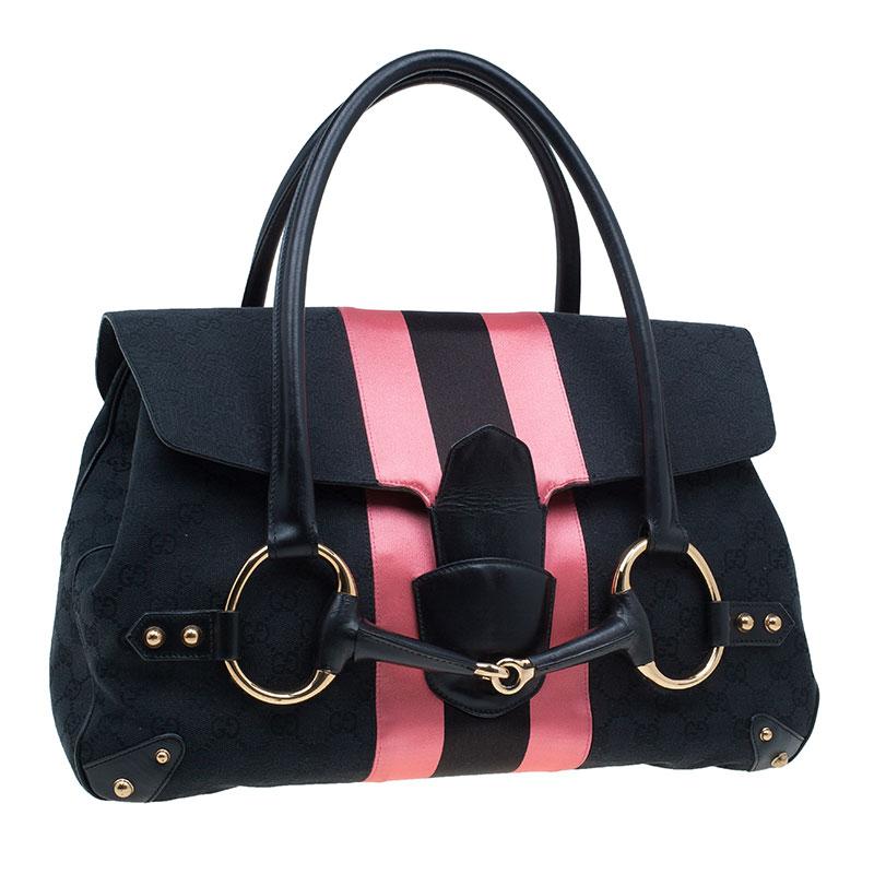 Gucci Black and Pink Horsebit Shoulder Bag
