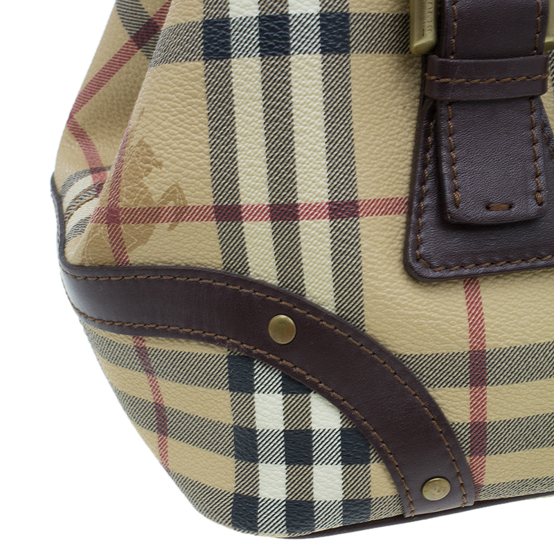 Burberry Beige/Brown Classic Check Satchel Bag