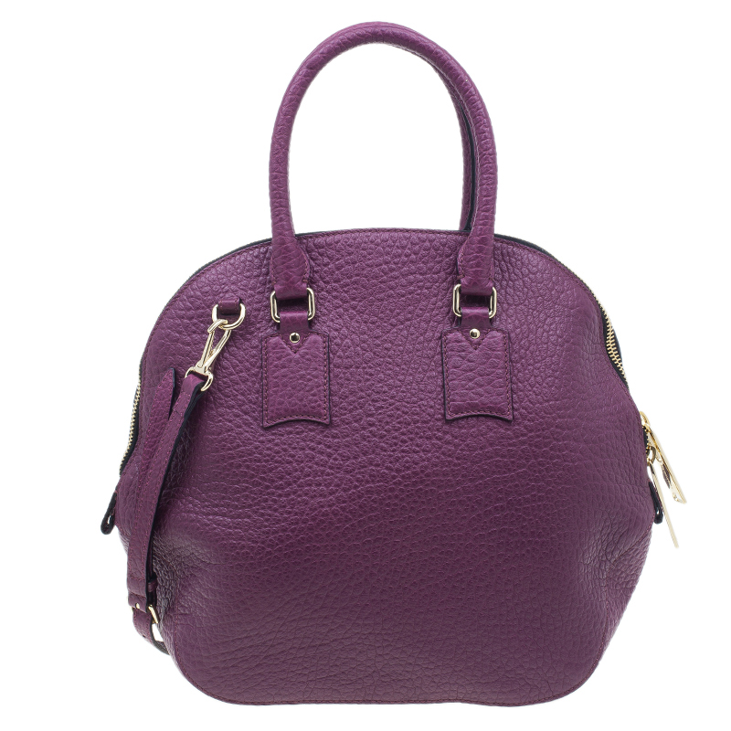 Burberry Purple Heritage Grain Medium Orchard Bowling Bag