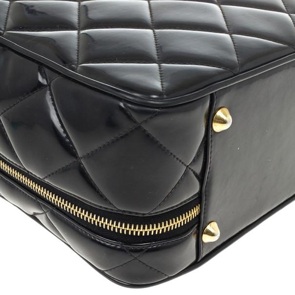Chanel Vintage Black Patent 2way Lunch Box Crossbody Bag