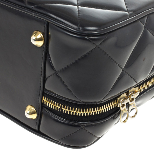 Chanel Vintage Black Patent 2way Lunch Box Crossbody Bag