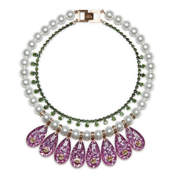 Mawi Galaxy Rocks Tiered Glitter Teardrop Necklace with Pearls