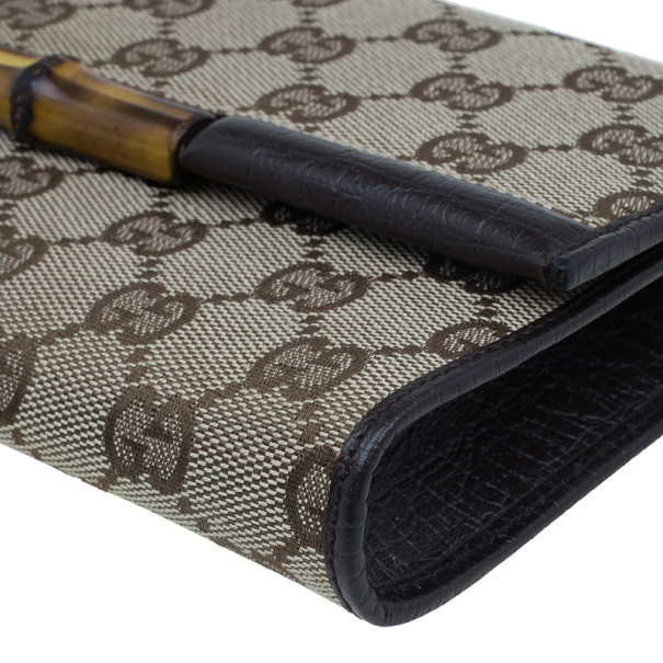 Gucci Brown Canvas Monogram GG Bamboo Clutch