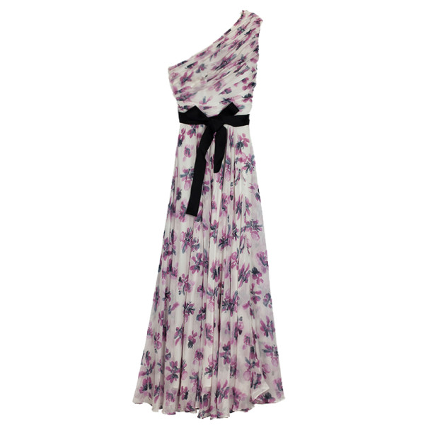 Carolina Herrera One Shoulder Floral Chiffon Gown L