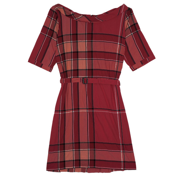 Burberry Brit Boysenberry Check Crinkle Cotton Kristie Dress XL