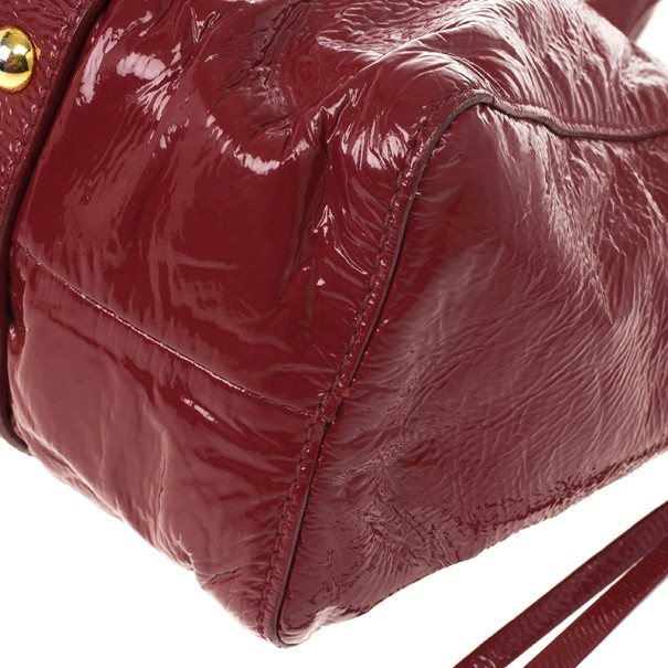 Miu Miu Red Vitello Lux Leather Soft Shopping Top Handle Bag