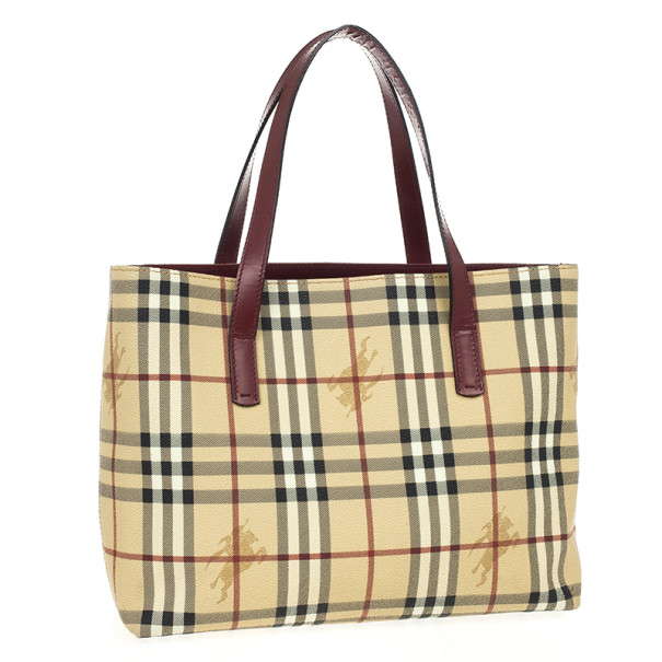 Burberry Beige London Haymarket PVC Tote