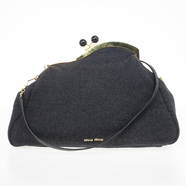 Miu Miu Grey Wool Oversized Clutch