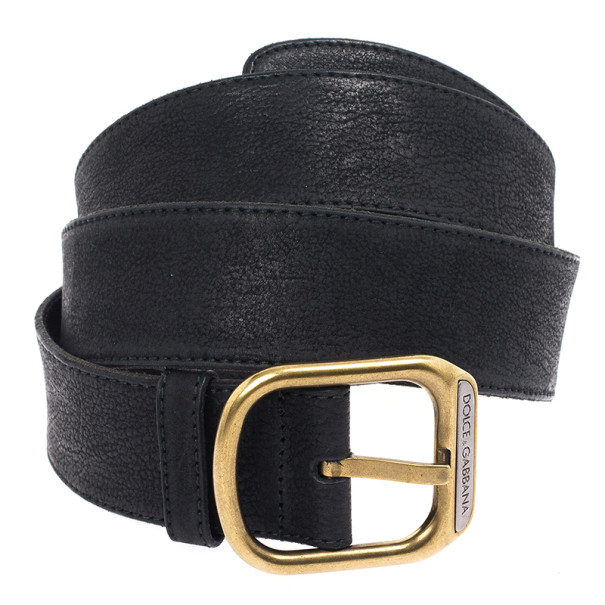 Dolce and Gabbana Black Leather Belt 110 CM