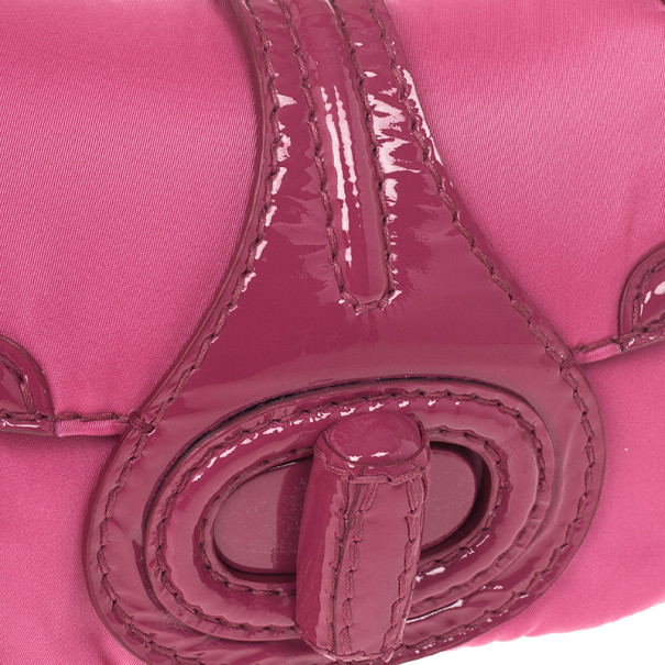Prada Pink Nylon Gabardine Turnlock Flap Shoulder Bag