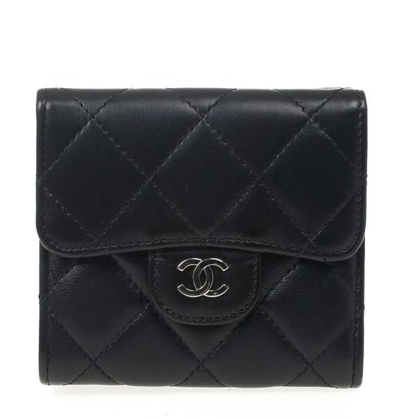 Chanel Black Lambskin Small Compact Wallet