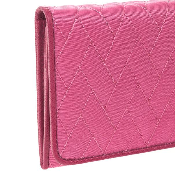 Prada Pink Quilted Nylon Flap Wallet
