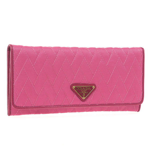 Prada Pink Quilted Nylon Flap Wallet